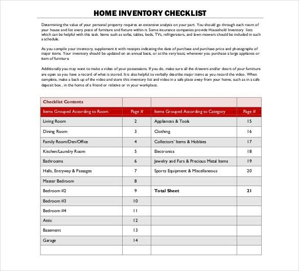 household inventory list