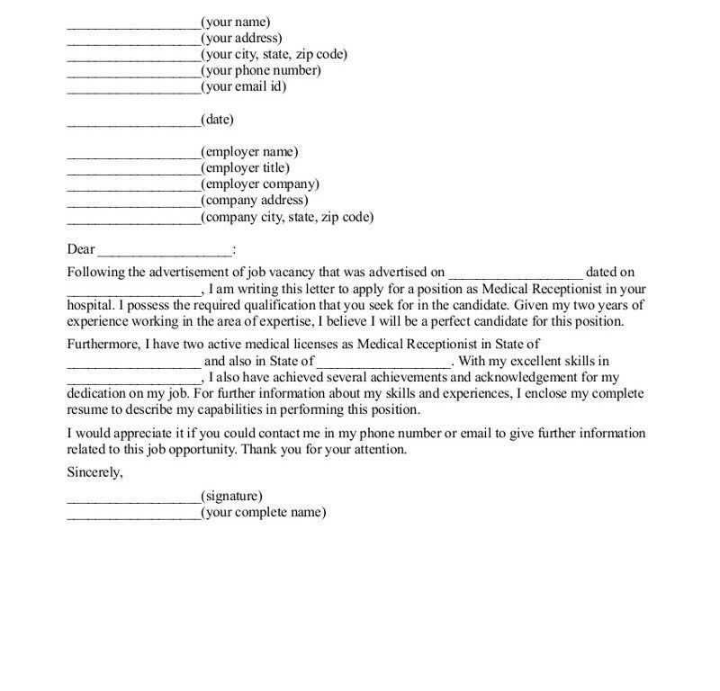 Cover Letter For Receptionist. Cover Letter Cover Letter Template ...