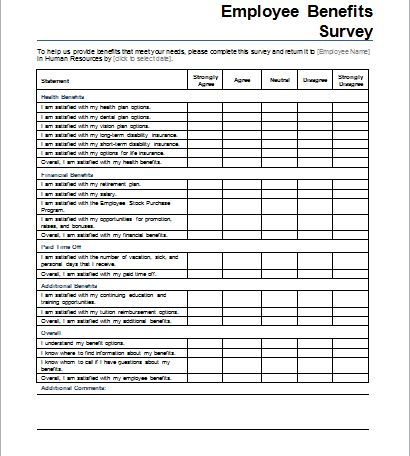 Employee Benefits Survey Form | Document Hub