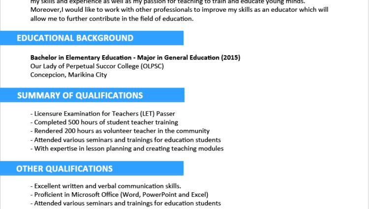 Sample Resume Format for Fresh Graduates example of curriculum ...