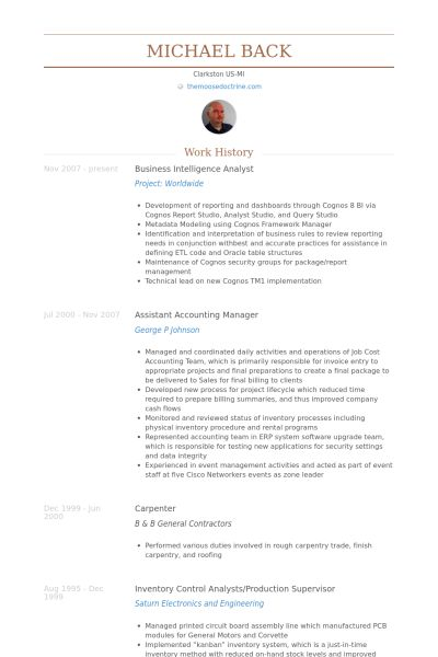 Business Intelligence Analyst Resume samples - VisualCV resume ...