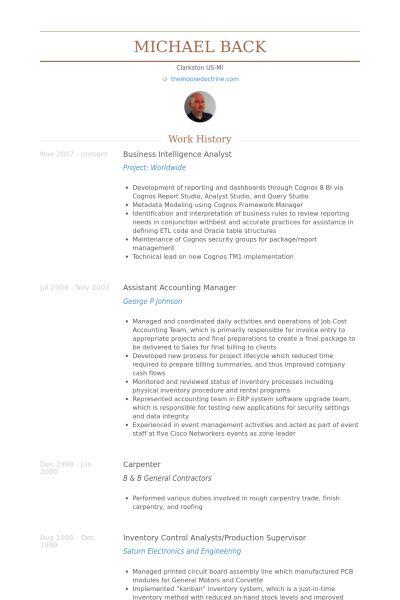 Business Intelligence Analyst CV Beispiel - VisualCV Lebenslauf ...