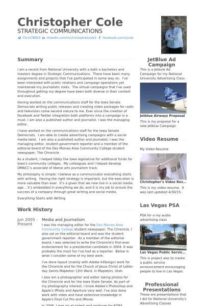 Journalism Resume samples - VisualCV resume samples database