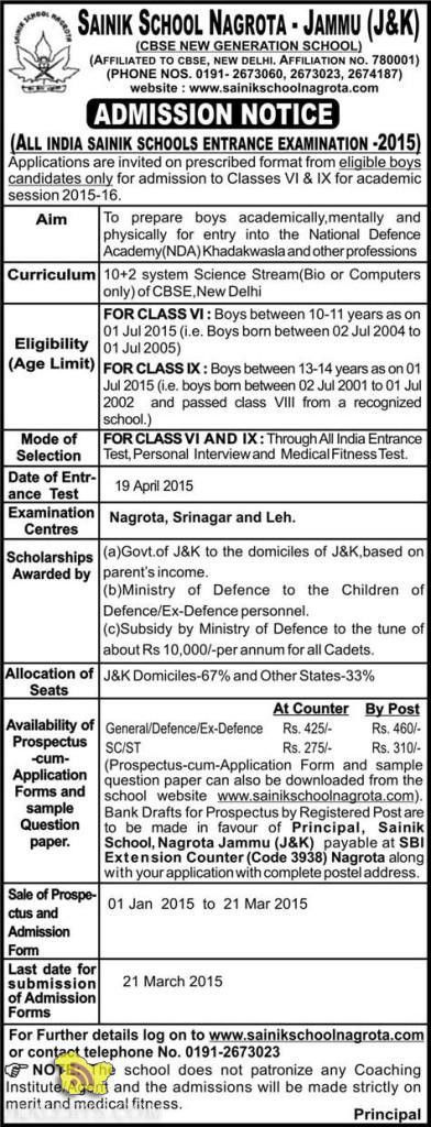 ALL INDIA SAINIK SCHOOLS ENTRANCE EXAMINATION -2015 JAMMU AND ...