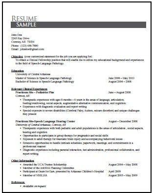 sample graduate school resume speech language pathology resume ...
