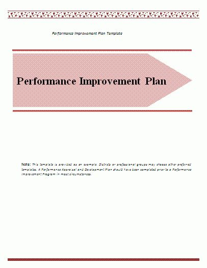 Performance Improvement Plan Template | Formsword: Word Templates ...