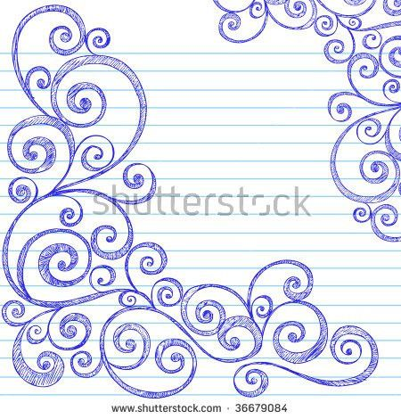 Handdrawn Sketchy Doodles Swirly Border On Stock Vector 36679084 ...