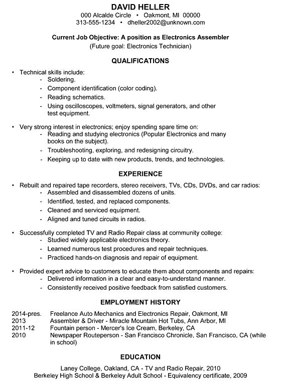 10 Assembler Job Description For Resume Resume sample resume for ...
