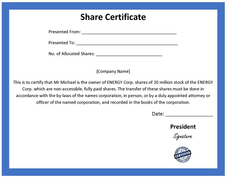 Shareholders Certificate Template] Share Stock Certificate ...