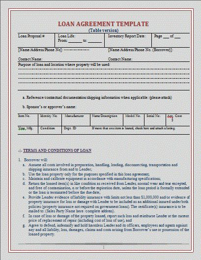 Loan Agreement Template | Free Microsoft Word Templates | Free ...