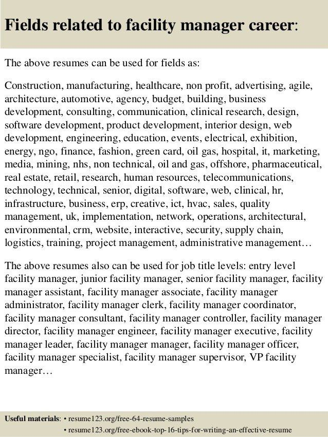 Facilities Manager Resume – Resume Example with Release Manager ...