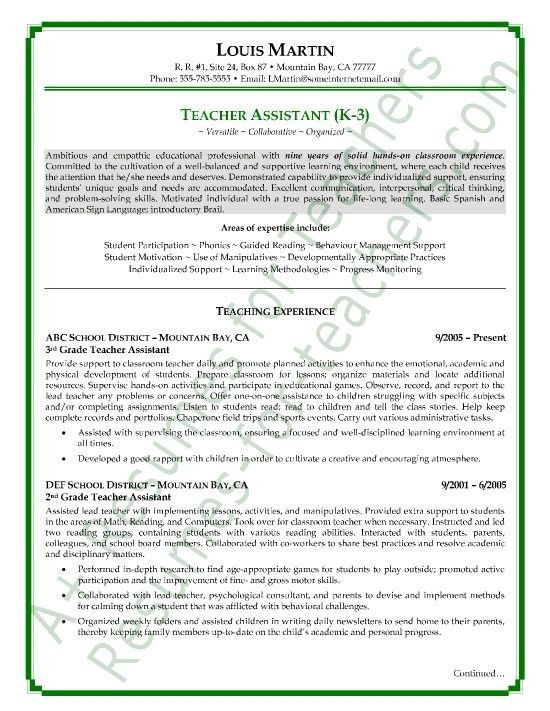 Teacher Assistant Resume Example - Best Resume Collection