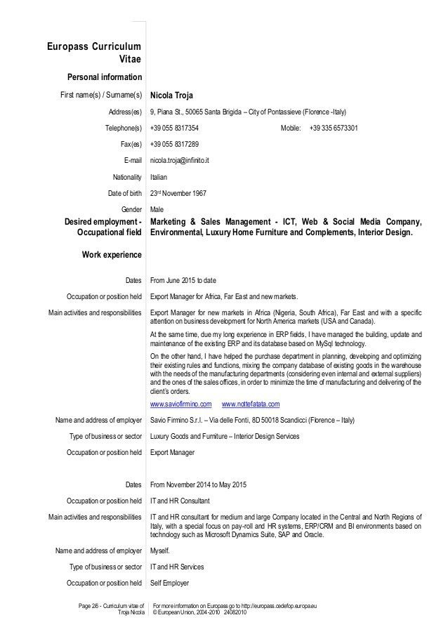 European CV Nicola Troja 2016 - Cover Letter