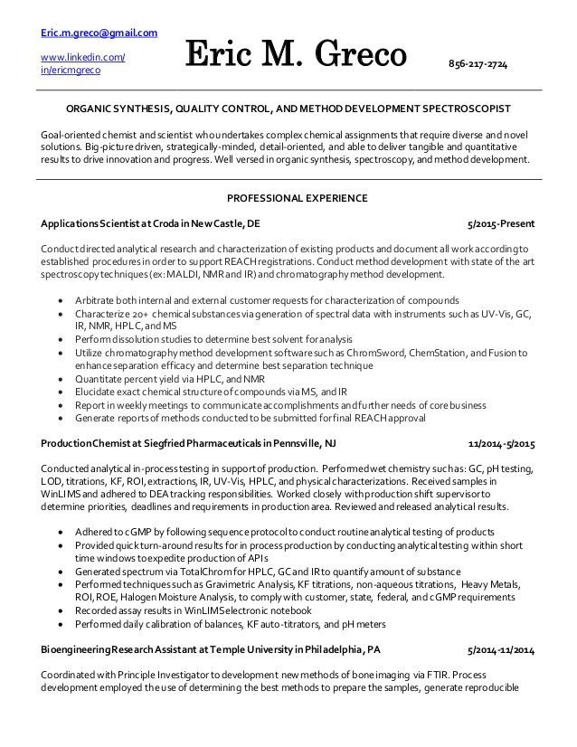 analytical chemist resume analytical chemist resume example
