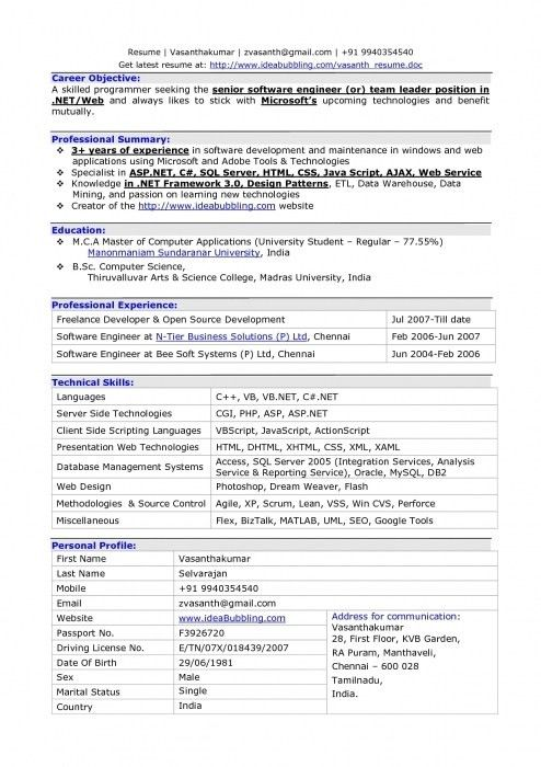 large size of resumesample cv of software engineer objective ...
