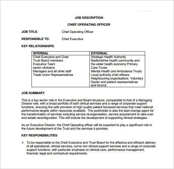 Chief Operating Officer Job Description Template – 7+ Free Word ...