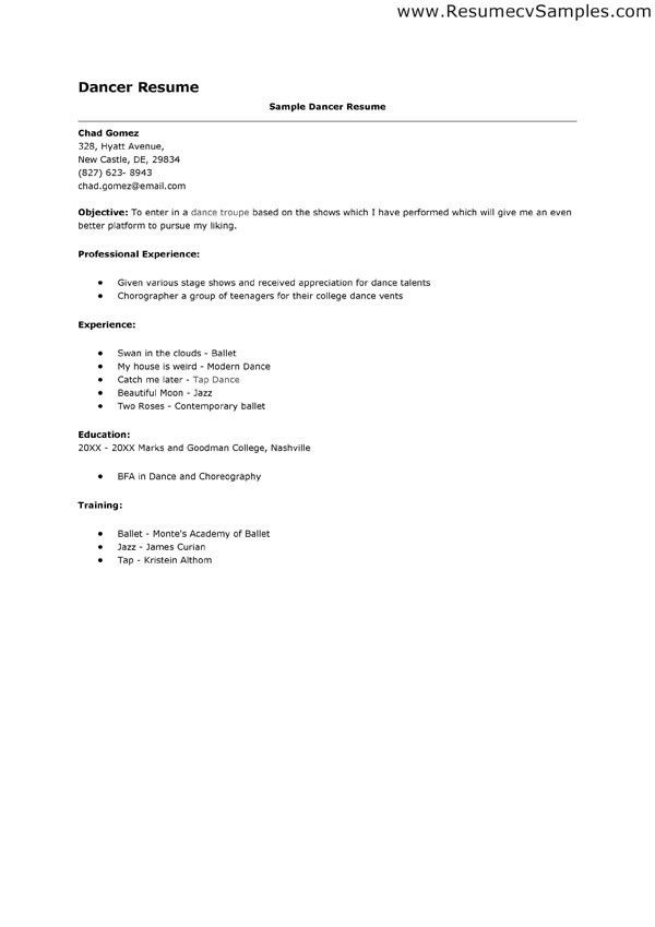 Sample Dance Resume | jennywashere.com