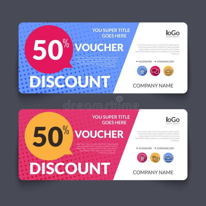 Discount Voucher Design Template With Colorful Stock Vector ...