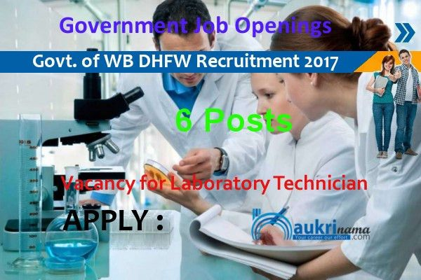 government of wb dhfw lab technician job 2017, 12th pass jobs 2017