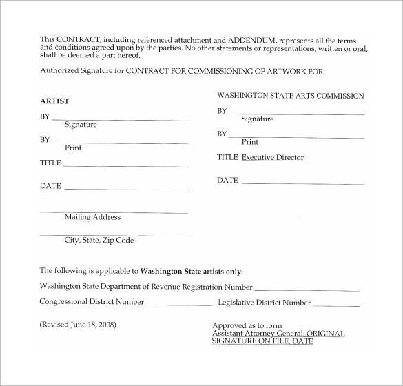 Artist Contract Templates. Standard Artist Management Agreement ...