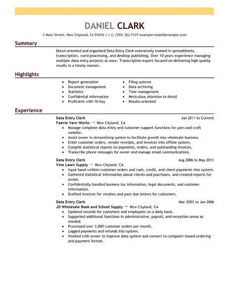 Creative Inspiration Warehouse Clerk Resume 5 Best Data Entry ...