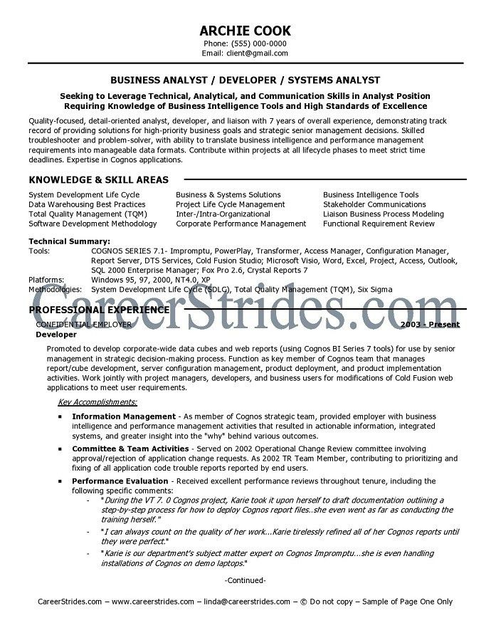 10 Example of Business Analyst Resume Targeted to the Job ...