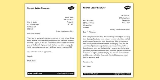 Letter Examples - KS2 Formal Writing Example Texts