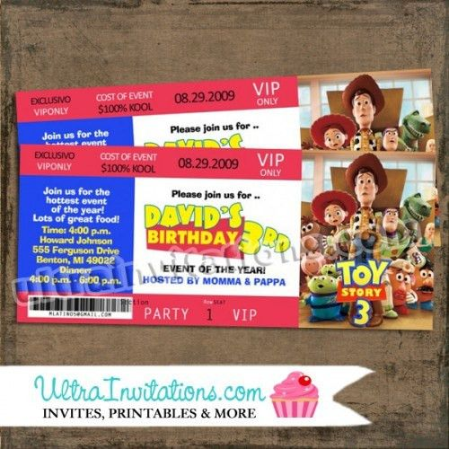 Toy Story Concert Ticket Invitations, Birthday Invites