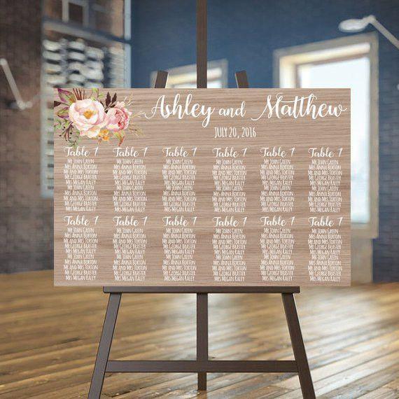 Wedding seating chart printable Wood guests list printable