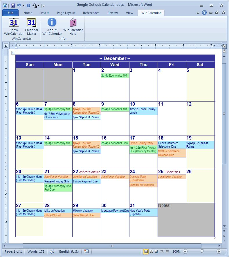 Calendar Creator for Microsoft Word with Holidays