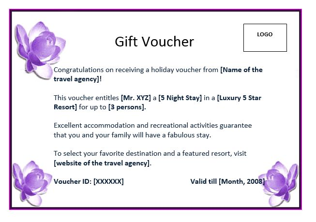 Nice Holiday Gift Voucher Format Template with Rectangular Shape ...