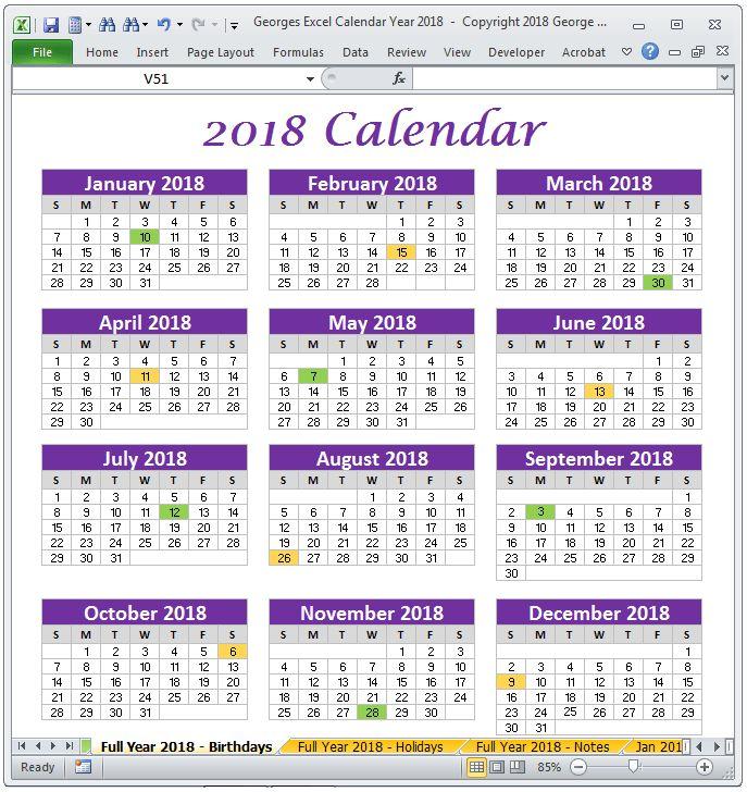 Printable 2018 calendar templates | 2018 Calendar Year Excel ...