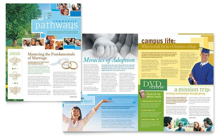 Community Church Newsletter Template - Word & Publisher