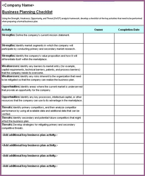 checklist template in word
