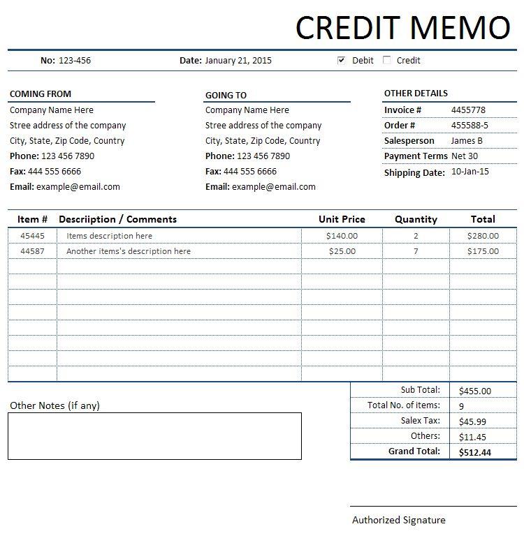 Credit Memorandum/Memo Invoice | Sales Invoices | Free Invoice ...