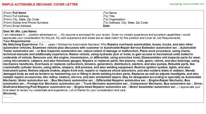 Automobile Mechanic Job Title Docs