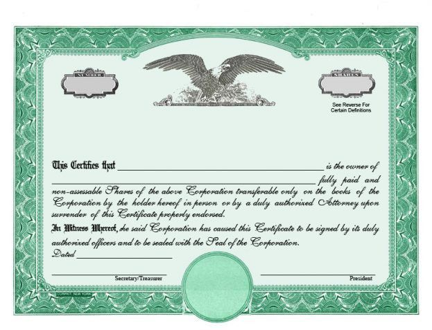 Stock Certificates LLC Certificates Share Certificates Goes : Selimtd