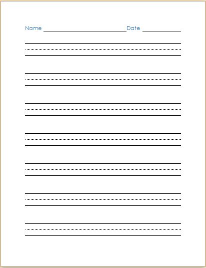 MS Word Handwriting Practice Paper Template | Document Templates