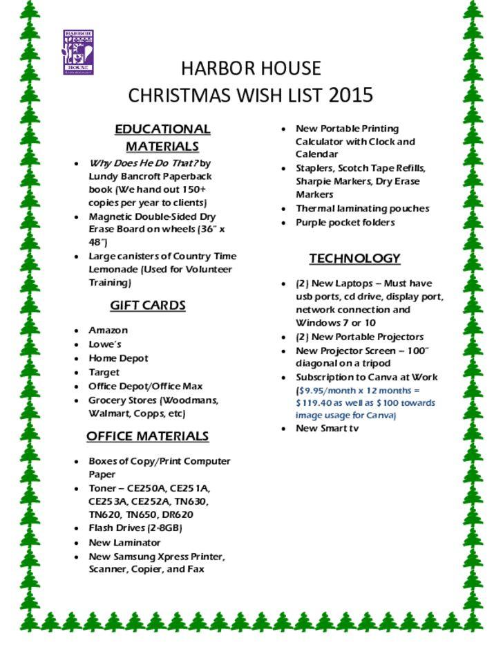 Christmas Wish List Sample Free Download