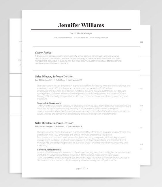 Traditional Resume Template | RockStarCV.com
