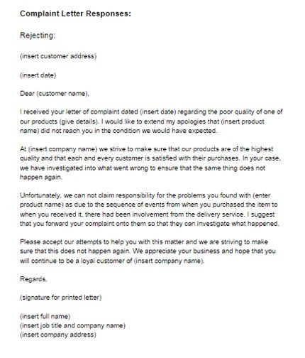 Complaint Letter Response Example Rejecting | Just Letter Templates