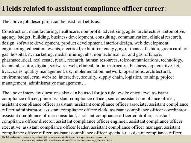 Top 10 assistant compliance officer interview questions and answers