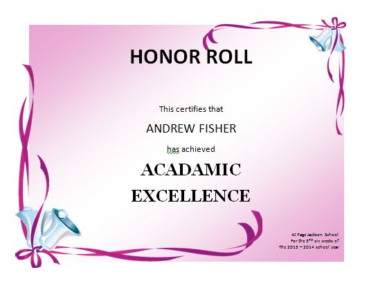 Honor Roll Certificate Template | Microsoft Word Templates