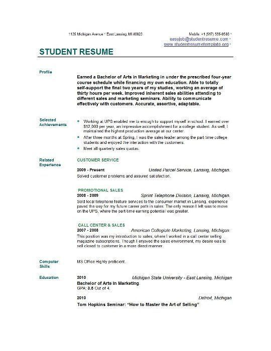 Marvellous Design How To Write A Student Resume 1 Sample Student ...