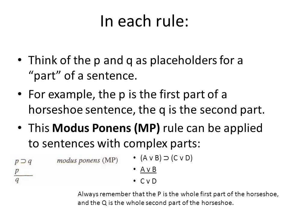 From Truth Tables to Rules of Inference Using the first four Rules ...