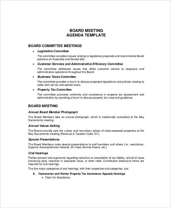 12+ Budget Meeting Agenda Templates – Free Sample, Example Format ...