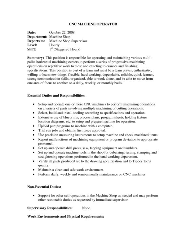 Machine Operator Resume - Template Examples