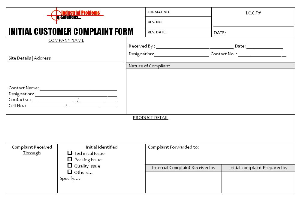 Free Customer Complaint Form Template | Template Sample