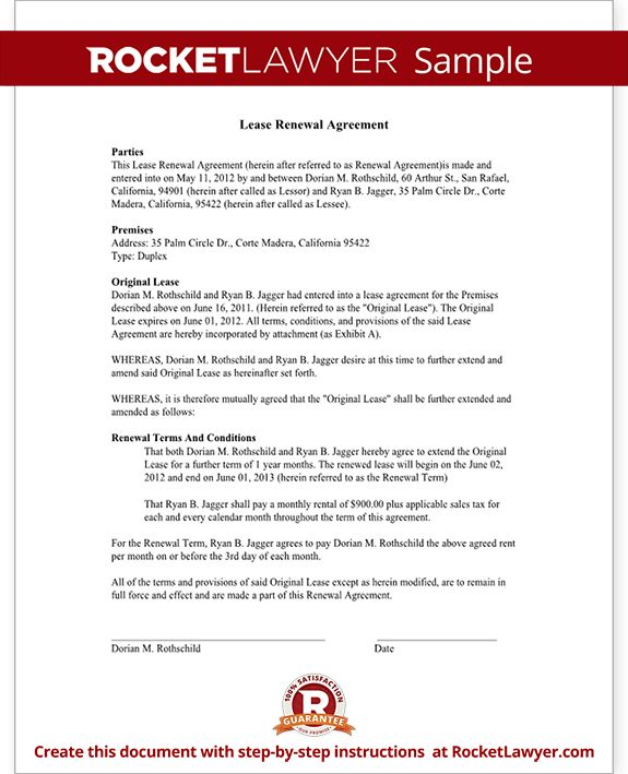 Lease Renewal Letter & Agreement - Lease Extension | Rocket Lawyer
