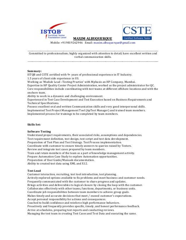 17+ [ Software Tester Sample Resume ] | International Business ...